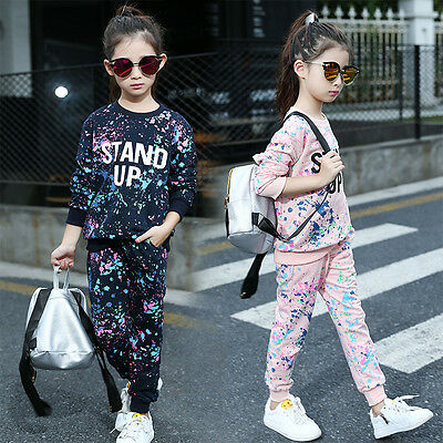 UK  Baby Kids Tracksuit Set Girls Casual Sports Sportswear Top Pants Outfit Suit