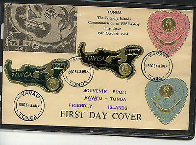 Tonga  large cachet cover with  foil  stamps  1964     MS0805