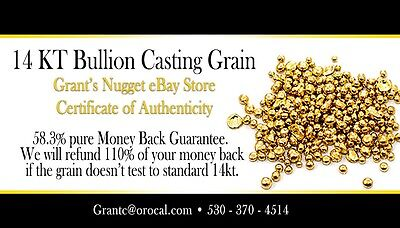Gold Bullion Casting  Grain  10 Gram 14Kt