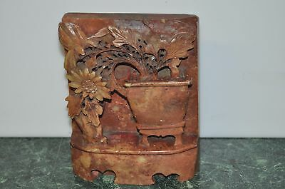 Vintage Hand Carved Chinese Red Soap Stone Flowers in Pot Sculpture