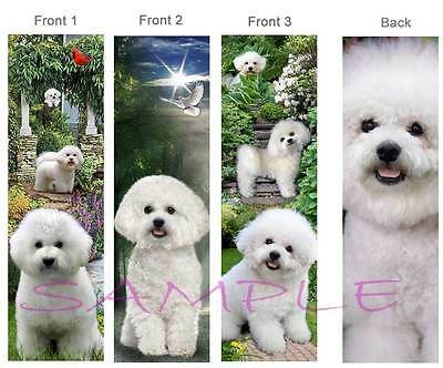 3 set-BICHON FRISE BOOKMARK BOOK Card Figurine ORNAMENT Puppy Dove White Maltese