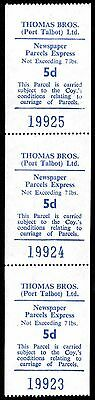 Wales - UK - Thomas Brothers (Port Talbot) Ltd. Bus Freight Stamps - Strip of 3
