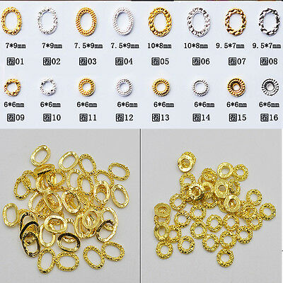 5Pcs/set 3D Nail Art Decoration Gold/Silver Hollow-out Oval Circle DIY Tips