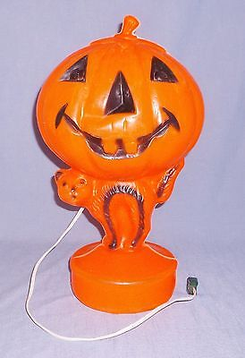 Vintage Blow Mold Halloween Pumpkin & Cat Jack O Lantern Electric Light Decor #1
