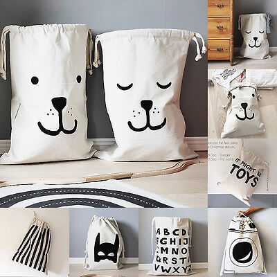 Large Cute Baby Kid Toys Storage Canvas Bags Bear Laundry Basket Drawstring Bags