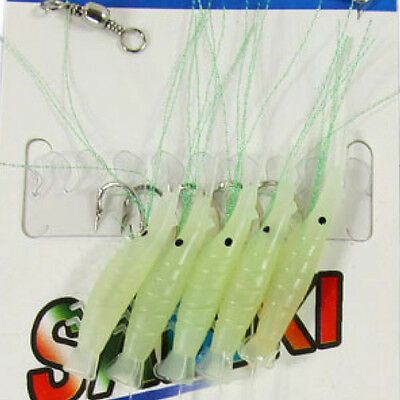 NEW 10 Silicone Shrimp Glow in the dark Fish Fishing Bait Lure Size 16# Hook RI