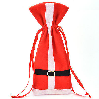 Christmas Santa Suit Costume Wine Bottle Gift Bag Wrapping Cover Pouch Sack FT
