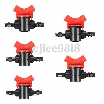 5Pcs Inline Tap Connector Barb Ball Pipe Hose Tube Plastic Shut-off Valve Garden