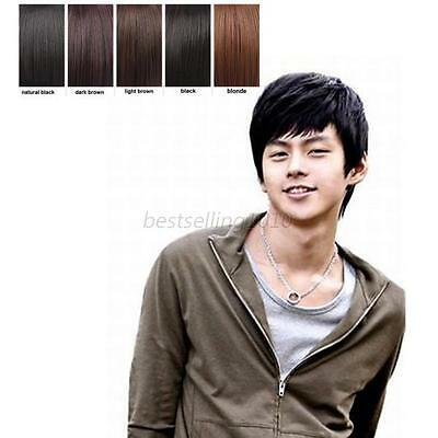 Men Fashion Black Brown Short Hair Wigs Layered Straight Cosplay Full Wigs New