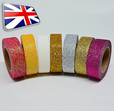 5M X 15mm width Glitter Washi tape paper self adhesive ~ 7 Different Colours