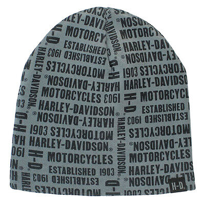 Harley Davidson Mens Repeated Text Beanie Hat Grey/Black