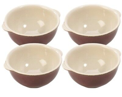 Set Of 4 Traditional Farmhouse Round Porcelain Handled Soup Bowls 14oz.