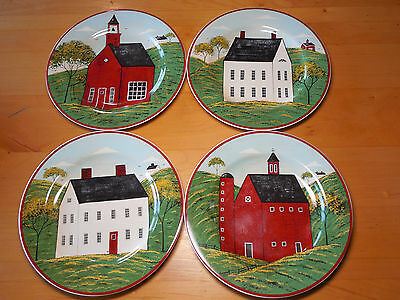 "Sakura COUNTRY LIFE Warren Kimble Set of 4 Salad Plates 8"" 4 designs Red White C"
