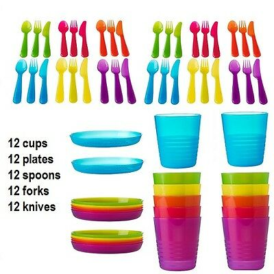 60pcs IKEA Plastic Cup Plate Spoon Fork Knife Baby Kids children Party Cutlery