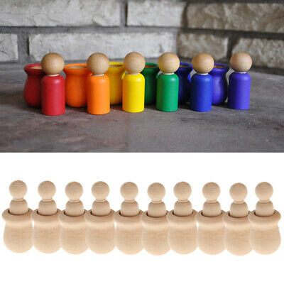 3x 10pcs Natural Wooden People Peg Doll Nesting Set Child Kids Handmade Toys