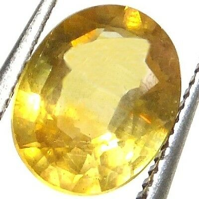 NATURAL TOP GOLDEN YELLOW SAPPHIRE LOOSE GEMSTONE (8.6 x 7 mm) OVAL - PUKHRAJ