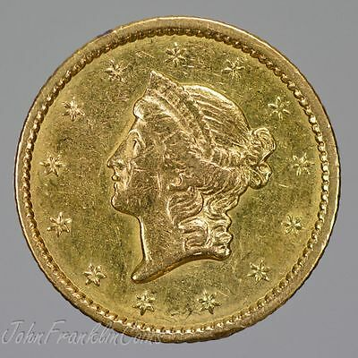 1849 Type-1 $1 Liberty Head Gold Dollar AU /Q-108