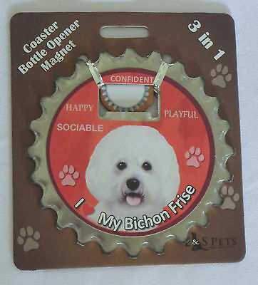Bichon Frise Coaster Bottle Opener Magnet 3 in 1 Dog Happy Playful Sociable New