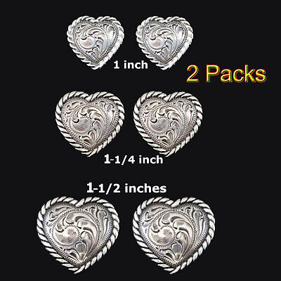 Conchos Lot Of 2Pcs Western Heart Shape Antique Silver Rope Edge 3 Sizes New