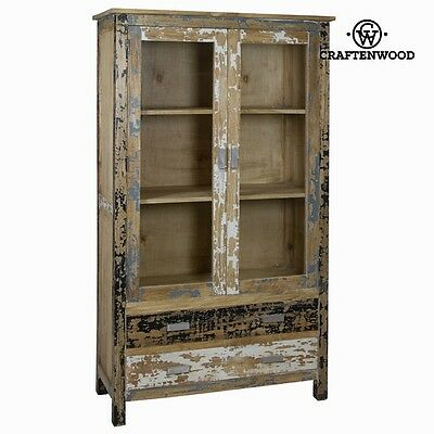 Antique Pickled Wood Cabinet 2 Doors Cupboard POETIC COLLECTION BY CRAFTEN WOOD