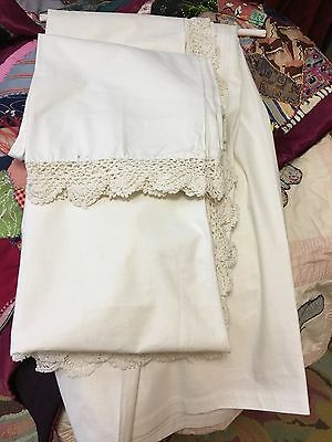 Vtg Double White Crochet Lace Flat Bed SHEET & 2 PILLOWCASES~ touch of blue