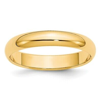 Solid 14k Yellow Gold Mens Womens Wedding Band Half Round Ring Sizes 4 to 14