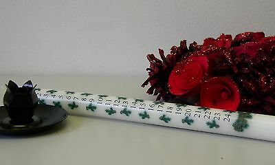 """12""""  Hand decorated Pine Advent Countdown to Christmas Candle (no holder)"""