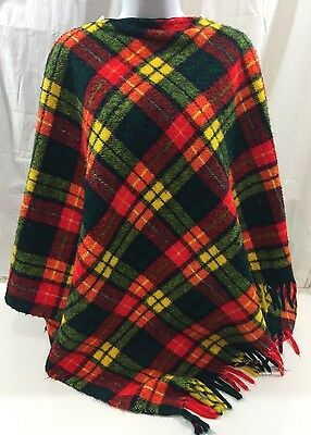 Vintage Plaid Blanket And Poncho One Size Fits All