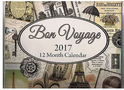 Bon Voyage 2017 - 12 Months Wall Calendar New In Package