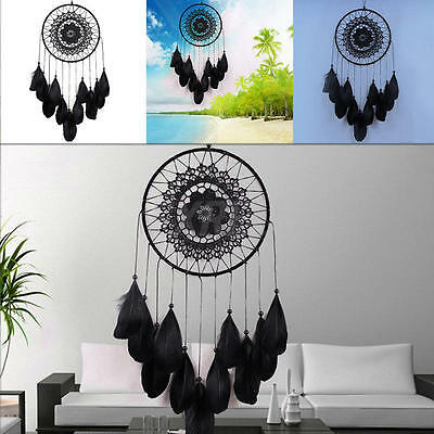 Handmade Lace Dream Catcher Feather Bead Hanging Decoration Ornament Gift Black