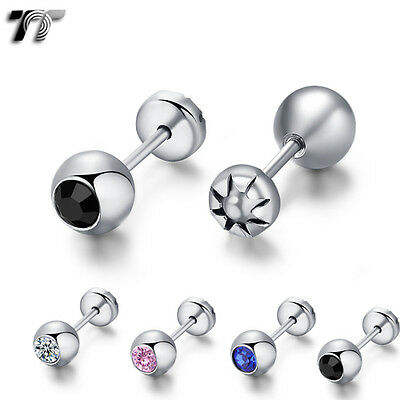 TT 5mm Surgical Steel Round CZ Stone Fake Ear Cartilage Tragus Earrings (TR12)