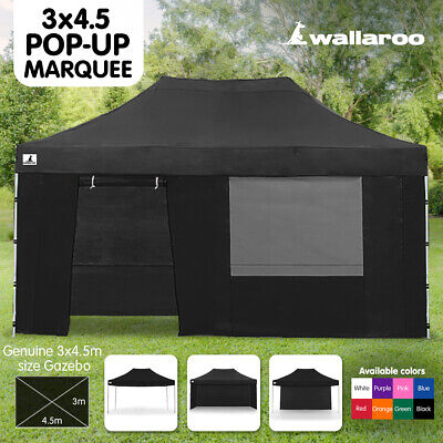 3x4.5m PREMIUM POP UP OUTDOOR GAZEBO FOLDING TENT MARKET PARTY MARQUEE BLACK
