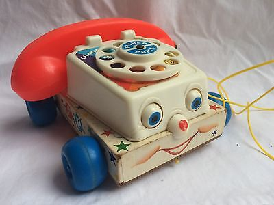 Vintage Fisher Price Chatter Telephone Toy Wood Base (1970s?)