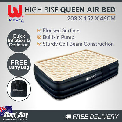 High Rise Queen Inflatable Air Bed Built-in Pump Blow Up Mattress Camping Black