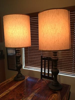 Pair of Vintage  Etched Design Brass Lamps Mid Century With Custom Shades.
