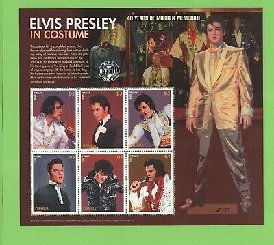 Gambia Elvis in the Costume sheetlet 6 x D5, MNH