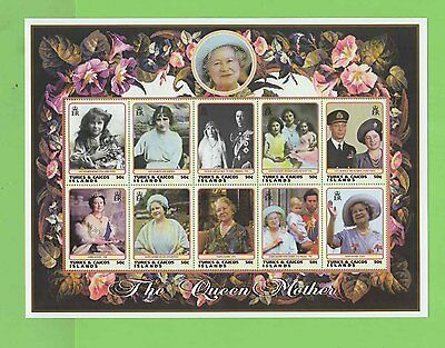 Turks & Caicos 1999 Queen Mother 10 x 50c sheetlet, MNH