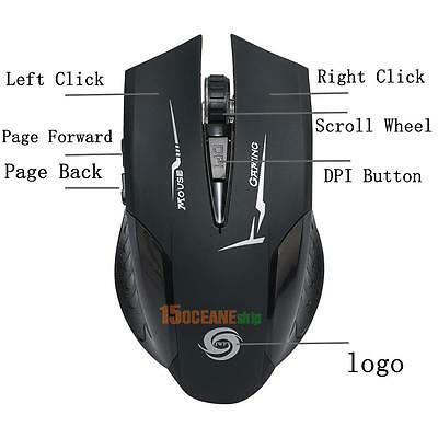 USB Laser Computer Gaming 6 buttons 2.4G Wireless Mouse For PC Laptop