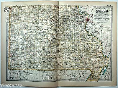 Original 1902 Map of Southern Missouri - A Finely Detailed Color Lithograph