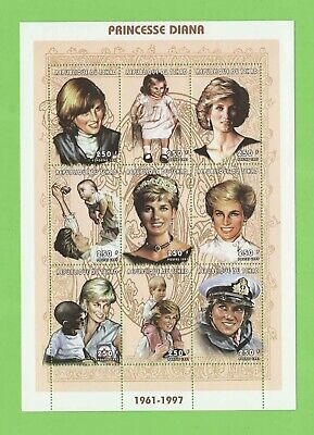 Chad 1997 Princess Diana 9 x $2.50 miniature sheet, MNH