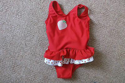 Girls Ladybird Red and White Swimming costume age 12-18 Months VGC