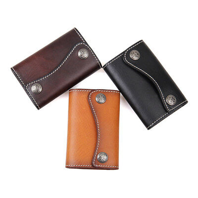 Augus Unisex Genuine Leather Key Bag 6 Key Hooks Holder Key Case Wallets