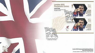 (92130) GB FDC Josef Craig London Paralympic Games minisheet 2012