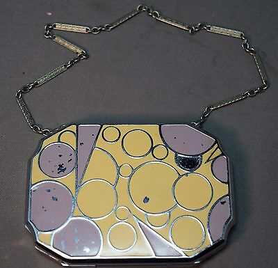 RARE Art Deco Enameled Geometric Designed Powder Compact /Necessaire!