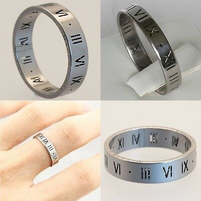 4mm 6mm Stainless Steel Silver Numeral Mens Wedding Ring Womens Band (sz L to W)
