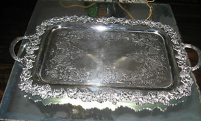Antique Ornate  Old English Reproduction Silver Plate  Handle Tray