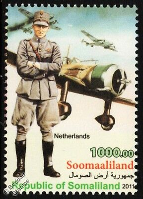 WWII Netherlands 2nd Lt.Fighter Squadron Uniform Stamp / Fokker D.XXI Aircraft