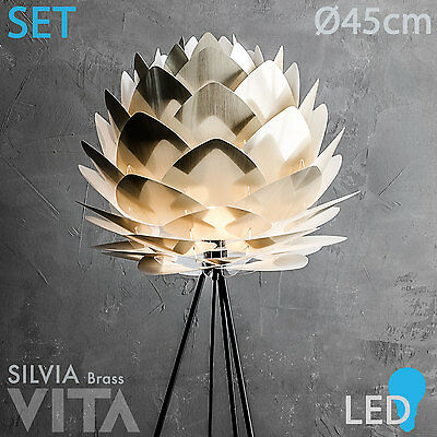 Vita Silvia Brushed Brass +LED Messing hell Gold Stehleuchte schwarzer Tripod