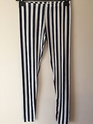 Womens Ladies Striped Black White Blue Leggings Stretch Italy Jeggings Skinny UK