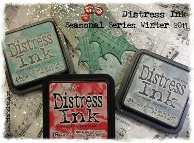 3 Tim Holtz WINTER Distress Ink Pads Evergreen, Festive Berries, Iced Spruce *